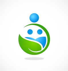 eco nature family earth logo vector image vector image