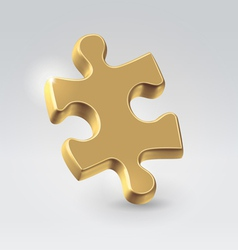Golden jigsaw puzzle piece vector image