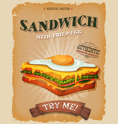 Grunge and vintage sandwich with fried egg poster vector