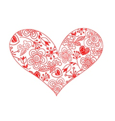 hand drawn sketchy hearts vector image vector image