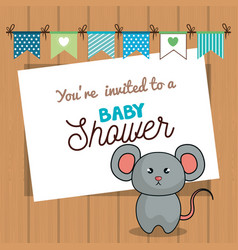 Invitation baby shower card with mice desing vector