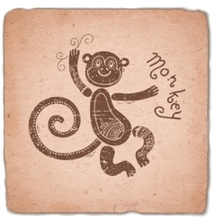 Monkey chinese zodiac sign horoscope vintage card vector