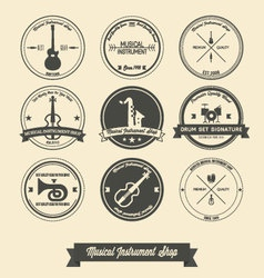 Musical instrument shop vintage label vector