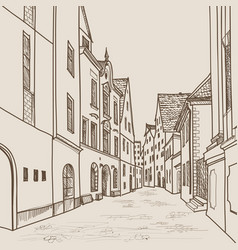 Old city street building view cityscape retro vector