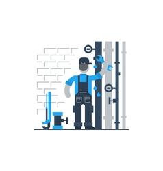 Plumber at work repairing pipes vector