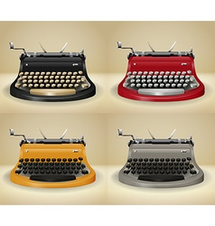 Retro typewriters on grunge background vector image