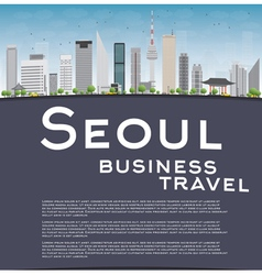 Seoul skyline with grey building vector image vector image
