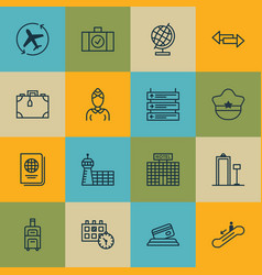 Set of 16 traveling icons includes hostess vector