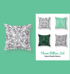 set of throw pillows in matching unique abstract vector image