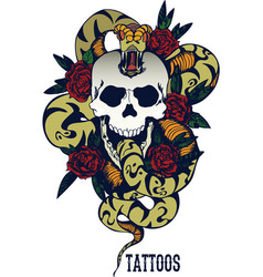 Skull with snake and five roses tattoo vector