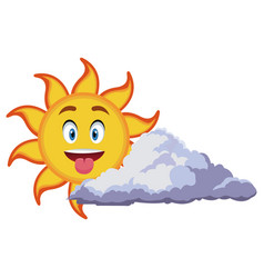 smiling sun cartoon mascot character image vector image