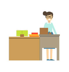 Teacher in glasses standing behind the desk vector