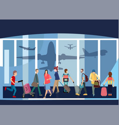 traveler people airport hall departure terminal vector image vector image