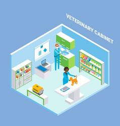 Vet cabinet cutaway interior flat isometric vector
