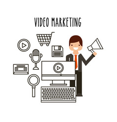 video marketing flat line icons vector image
