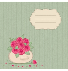 Vintage background with basket of flowers vector