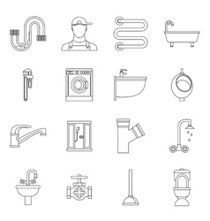 Plumbing icons set outline style vector