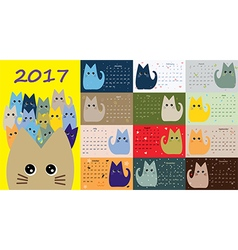 Calendar cute cats for every month vector