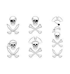 Pirate Skull set design templates vector image
