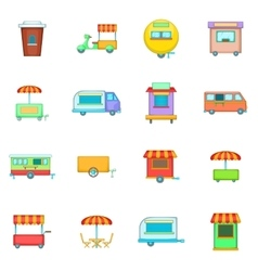 Street food kiosk vehicle icons set cartoon style vector