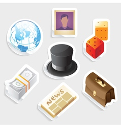Sticker icon set for global business vector image