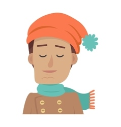 Portrait of young boy in orange hat and blue scarf vector