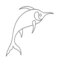 marlin fish icon in outline style isolated on vector image