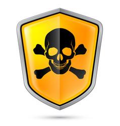 Warning sign on shield indicating of skull vector