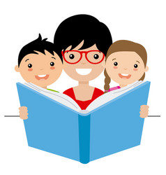 mom reading a story to her children vector image
