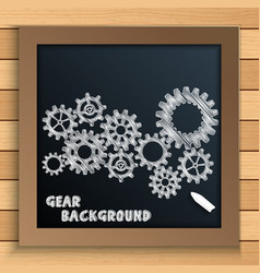 Cogs and gears mechanism written by chalk on black vector