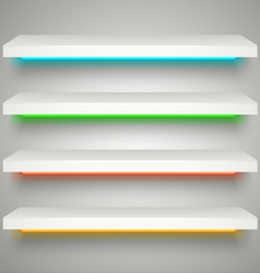 Neon illumination shelves vector