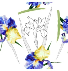 Seamless pattern with watercolor irises-05 vector