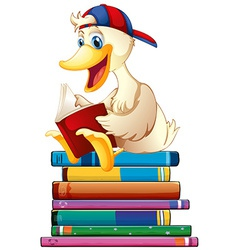 Duck and books vector