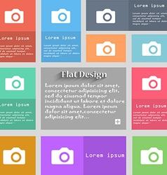 Digital photo camera icon sign Set of multicolored vector image