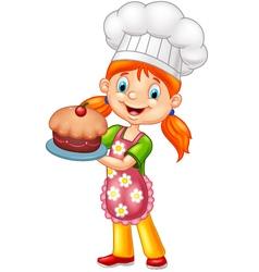 Cartoon little girl holding cake vector