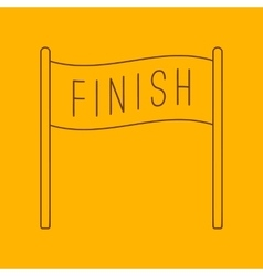 Finish banner line icon vector