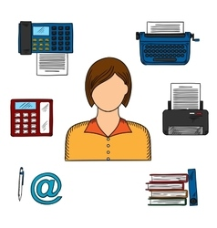 Secretary with office devices icons vector