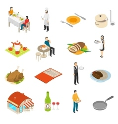 Restaurant cafe bar isometric icons set vector