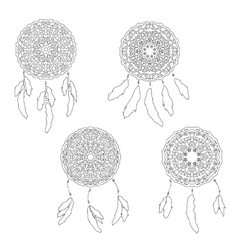Set of zentangle style dreamcatchers bohemian vector