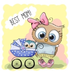 Greeting card best mom with baby carriage vector