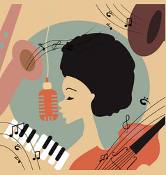 an afro american jazz singer vector image vector image