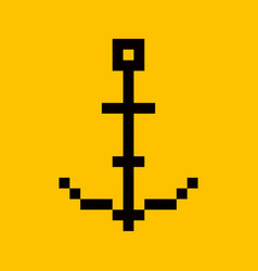 anchor pixel art cartoon retro game style vector image