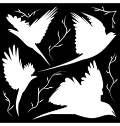 bird silhouettes cut-out vector image vector image