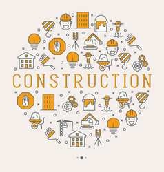 building construction concept in circle vector image