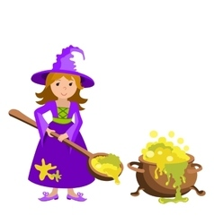 cartoon image of funny witch with red hair vector image vector image
