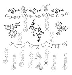 christmas decoration christmas bells and garlands vector image vector image
