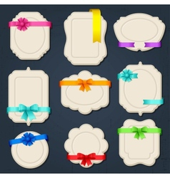 Collection of badges labels tags with bows and vector image vector image