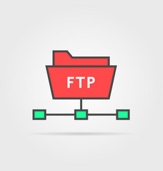 color ftp protocol simple icon vector image vector image