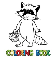 Coloring book of little funny raccoon vector