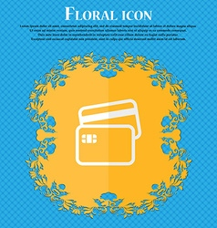 Credit card floral flat design on a blue abstract vector